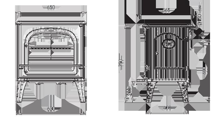 גודל הקמין, מידות קמין מפרט טכני קמין עץ פל-אח קמינים